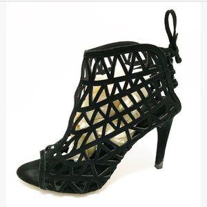 Zara. Cut out patterned heel sandal. Hot! Size 9